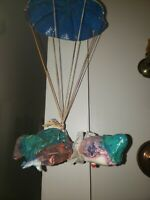 Vintage Clown with Rainbow Parachute Glossy Paper Mache, Handmade