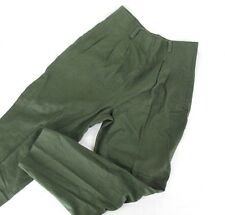 Vtg Minimalist 90s Army Green Linen Pleated Tapered High Waisted Pants 11/12