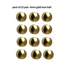 Hypoallergenic 24ct Gold Plated 4mm Ear Piercing Studs Earrings Sterile Pack Ca Ball Shape Silver Tone