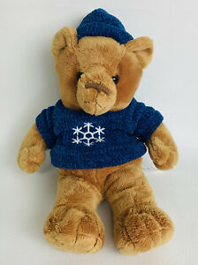 SAKS Younkers Store Plush Teddy Bear Brown Snowflake Sweater Hat Stuffed Toy