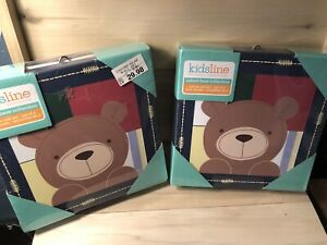 """Set of 4 NEW Kidsline Oxford Bear Collection Canvas Wall Art New 10"""" X 10"""" 2sets"""