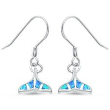 Blue Opal Whale Tail Dangle .925 Sterling Silver Earrings