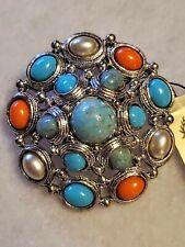 Premier Designs Faux Turquoise Coral Brooch Silver Tone Aztec Dome Pin Pendant