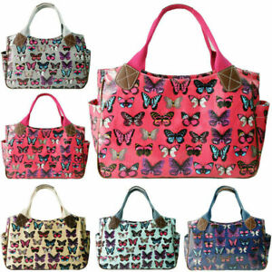 Womens Designer Butterfly Oilcloth Day Shoulder Carry Shopper Bag Tote Handbag