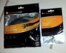 New Alphaline 10883 6ft Composite Video Cable&RCA plug coupler 24k Gold Plated
