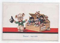 Carte postale CHAT. Coucou nous voila ! 3 chats sortent d'une boîte