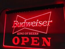 Budweiser Open LED Neon Bar Sign Home Light up movie Pub Bud Beer Lager mancave