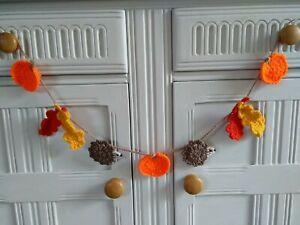 Crochet Autumn Bunting Pumpkins Hedgehogs & Oak Leaves Home Decor Dresser  Gift