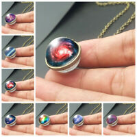 Necklace Handmade Glass Ball Solar System Galaxy Pendant Moon Space Universe +