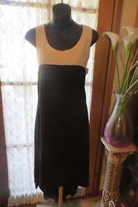 DRESS in VINTAGE  ~ NOW ~ Oatmeal/Black  Spliced DRESS * Size M * SALE !!