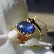 tansanit cabochon ring 5ct., verstellbar, 585 gold + goldfilled fassung