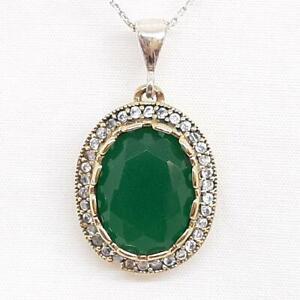 Deco 11.50ctw Emerald & Diamond Cut White Sapphire 14K Yellow Gold 925 Pendant