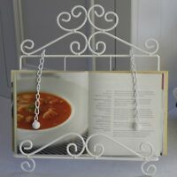 White metal tablet recipe book holder kitchen shabby french chic home gift
