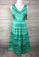 Merona Women's Green Striped V-Neck Sleeveless Lined Shesth Dress Size 6 NWT