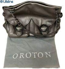 OROTON SILVER LEATHER JACKIE PEBBLE GRAIN SHOULDER BAG CHAIN TOTE 30256