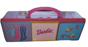 BARBIE 2002 PETITE 3 COMPARTMENT ACCESSORY CASE PINK MULE VERSION