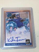 F46403  2018 Donruss Optic Rated Rookies Auto Dodgers Kyle Farmer
