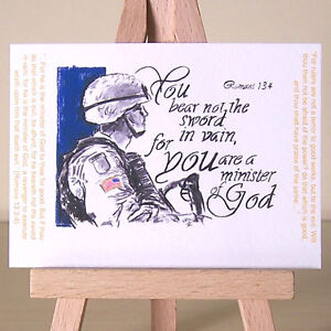 You Bear Not The Sword In Vain ~ Christian ACEO art card for US Army Soldiers