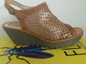 FLY London Yuti Tan Leather Sandals Size 6 Wedge  VGC