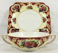 Crown Ducal Ware CRD38 Maroon Rim Pink Blue Floral CREAM SOUP & SAUCER Set 2 Pc.
