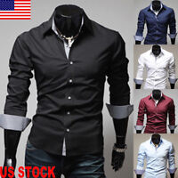 Luxury Mens Stylish Casual Dress Shirt Slim Fit T-Shirts Formal Long Sleeve Tops