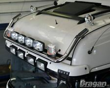 Roof Bar + LED Spots s + Clear Beacons For Volvo FE 2013+ Stainless Steel Truck