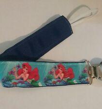 BABY GIRL Pacifier Clip Holder Leash Ariel The Little Mermaid Blue Ribbon