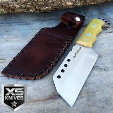 """9"""" Hunt Down TANTO Full Tang Hunting Knife w/ Weighted Handle and Leather Sheath"""