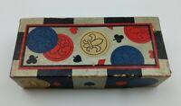 VINTAGE Embossed Fleur De Lis Paper Poker Chips Missing One Blue Chip