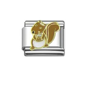 9mm  Italian Charms E20 Brown Squirrel Fits Classic Size Bracelet