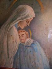 antico olio su tavola quadro fine 800 primi 900 madonna natività gesù bambino