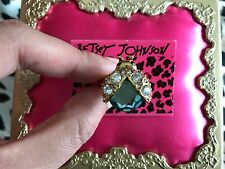 Betsey Johnson Enchanted Garden Blue Crystal Beetle Bug Insect Gold Stretch Ring