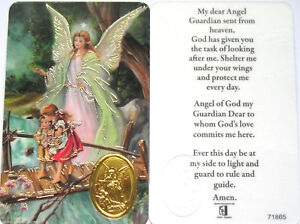 GUARDIAN ANGEL LAMINATED PRAYER CARD ~ RELIGIOUS GIFT