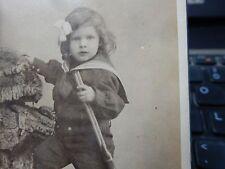 HUNTING  guard boy child  1880s CDV photo card BREBION LE MANS FRANCE