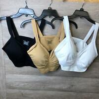 Genie Bra Womens Size 42C/D Neutral Multi Comfort Sports Bra 3 Pack NWOT