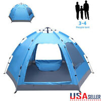 3-4 Person Automatic Family Tent Instant Pop Up Waterproof for Outdoor Camping