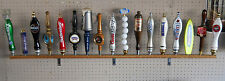 "17 PLACE BEER TAP HANDLE DISPLAY WALL MOUNTED SOLID OAK 58"" LONG"