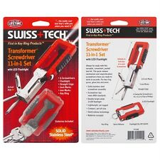 Swiss Tech Red Transformer 11 in 1 Tool 2 LED Flashlights 6 Screwdrivers Keyring