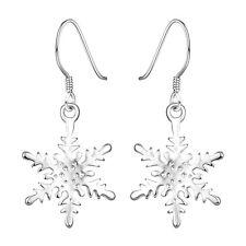 925 Sterling Silver Chandelier Snowflake Hoop Pierced Earrings L156