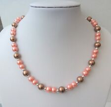"""Peach, bronze and silver glass pearl necklace. Gift or treat. 18.75"""""""