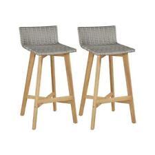 Bar Chairs 2 pcs Poly Rattan Solid Acacia Wood 40x45x90 cm