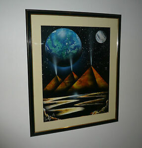 VINTAGE LARGE SCI-FI FANTASY AIR BRUSH PAINTING SIGNED & DATED 1997 FRAMED
