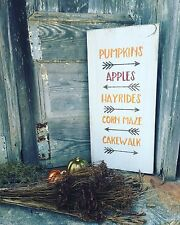 "Large Rustic Wood Sign - ""Pumpkins Apples Hayrides Corn Maze Cakewalk"" - Fall"