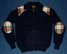 VINTAGE 1970's BRAND NEW DEAD STOCK MEN'S NAVY & TARTAN ZIP UP CARDIGAN SIZE 38""