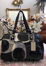 COACH Black Pat. Leather W/ Sig. C Multi-color Satchel BagF17186 EUC, MSRP $458