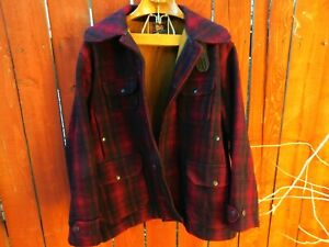 vtg 40s WOOLRICH CHECK PLAID DOUBLE MACKINAW WOOL WINTER HUNTING JACKET COAT 46
