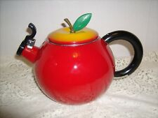 Vintage RED APPLE WHISTLING TEA KETTLE yellow lid green stem Enameled Steel