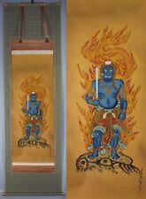 Japanese Japan,Buddhism hanging scroll Blue Fudo Myo-o Acala Handwriting 不道明王