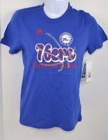 NBA PHILADELPHIA 76ers Girls ADIDAS Middle Basketball Tee T-Shirt M (10-12) NEW