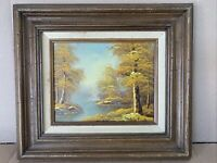 Vintage Signed Mountain Landscape Country River Creek Oil Painting